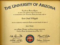 University of Arizona Law Degree